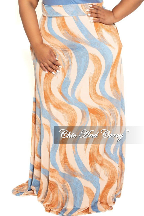 Final Sale Plus Size Long Maxi Skirt in Blue and Peach Brush Stroke Print