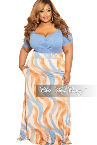 Final Sale Plus Size Long Maxi Skirt in Brown Black and Tan Leaf Print