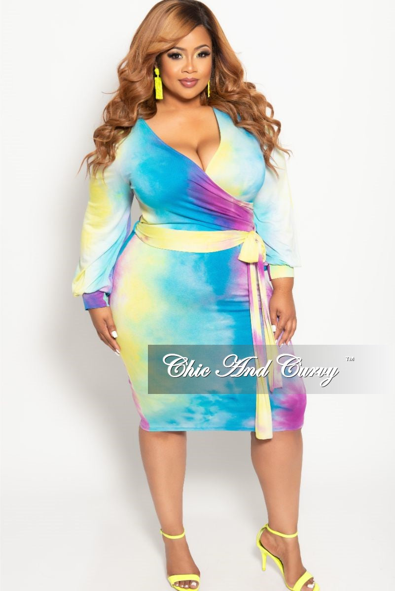 5d28edb54d6 New Plus Size Long Sleeve Faux Wrap BodyCon Dress with Attached Tie in Aqua  Multi Color