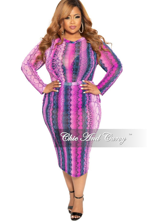 Final Sale Plus Size 2-Piece Long Sleeve Mesh Bodysuit and Matching Pencil Skirt in Fuchsia Snake Skin Print