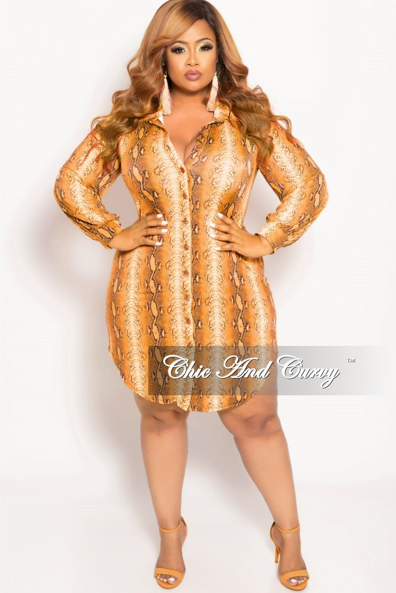 8d13e531cec New Plus Size Button Up Collar Dress in Orange Snake Skin Print – Chic And  Curvy