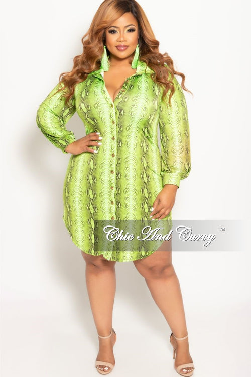 Final Sale Plus Size Button Up Collar Dress in Lime Snake Skin Print