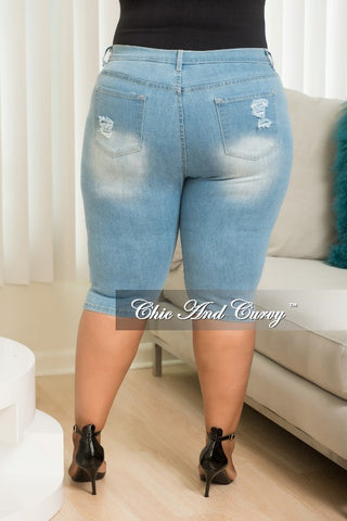New Plus Size Light Denim Shorts with Ripped Front