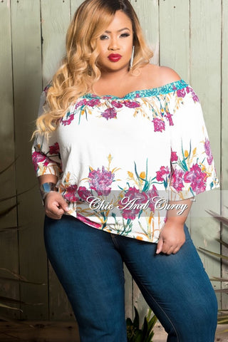 Final Sale Plus Size Off The Shoulder Top In White Multi Color Floral Print