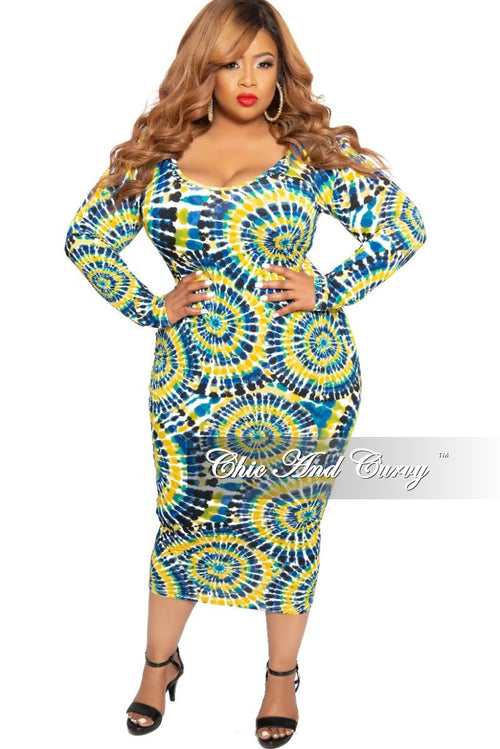 Final Sale Plus Size Long Sleeve Midi Dress in Yellow Teal Royal Blue and Black Circular Print
