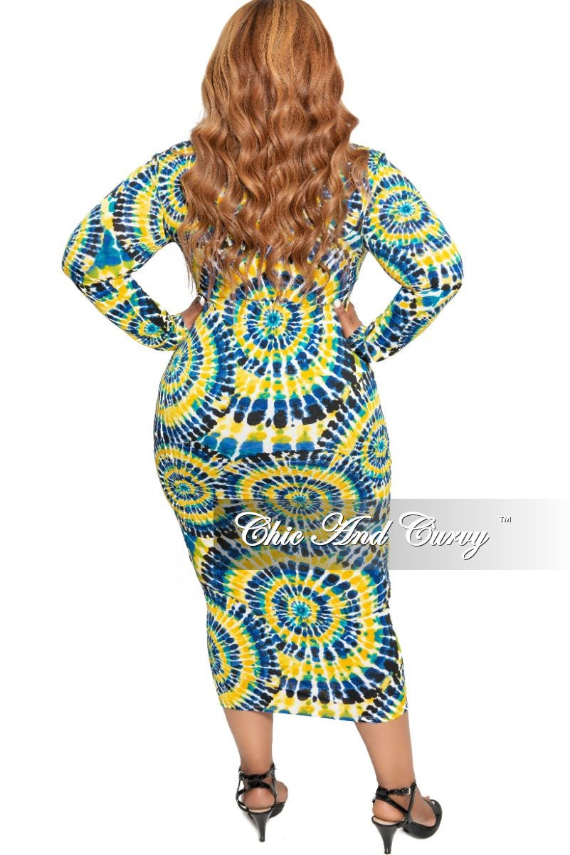 New Plus Size Long Sleeve Midi Dress in Yellow Teal Royal Blue and Black Circular Print
