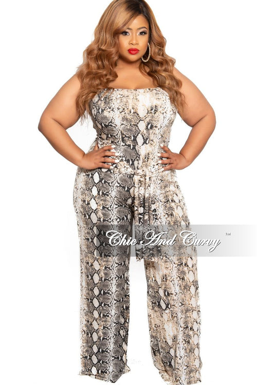 32132ee897 New Plus Size Strapless Jumpsuit with Attached Tie in White Black and Tan  Snake Skin Print