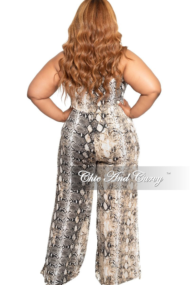 New Plus Size Strapless Jumpsuit with Attached Tie in White Black and Tan Snake Skin Print