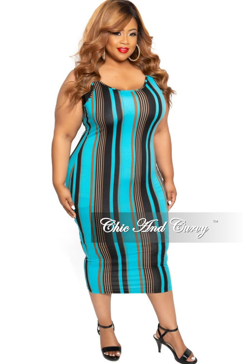 New Plus Size Spaghetti Strap Dress with Vertical Stripes in Turquoise Black and Brown