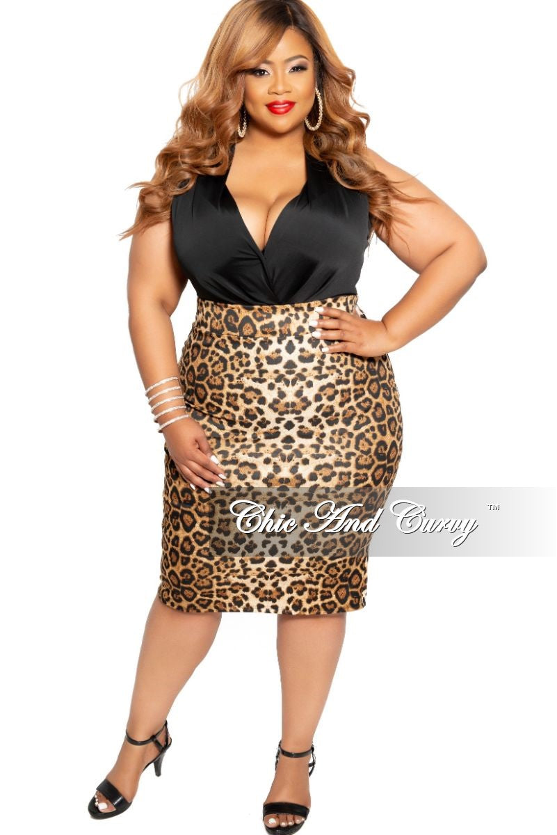 New Plus Size Pencil Skirt in Animal Print