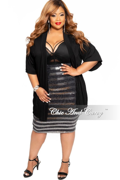 Final Sale Plus Size Sequin Pencil Skirt in Black and Silver