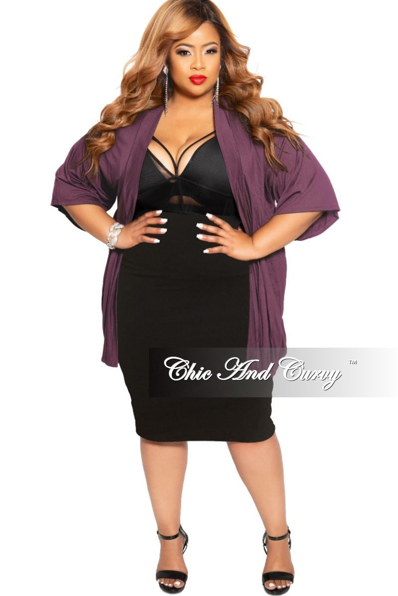 New Plus Size Duster in Dark Purple