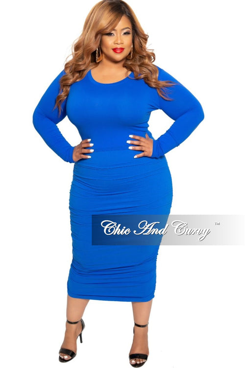 Final Sale Plus Size Long Sleeve Slim Fit Crop Top and Ruched Skirt Set in Royal Blue