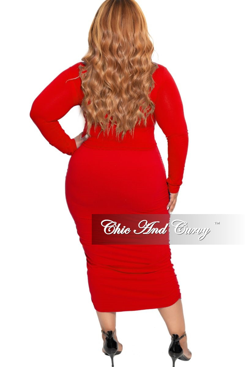 Final Sale Plus Size Long Sleeve Slim Fit Crop Top and Ruched Skirt Set in Red