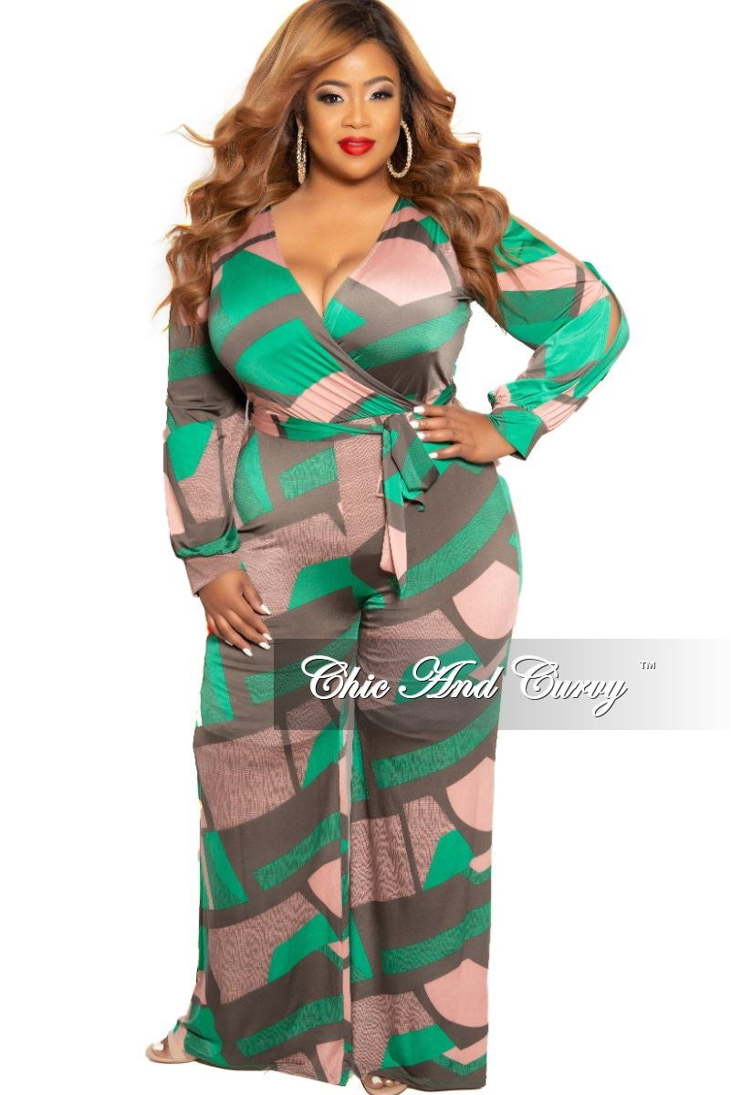 New Plus Size Faux Wrap Jumpsuit with Slit Sleeves and Attached Tie in Mauve Green and Olive Print