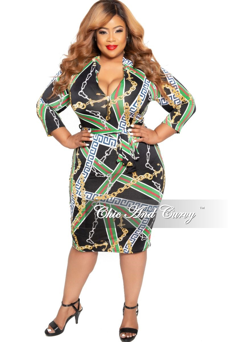 New Plus Size BodyCon Dress with 3/4 Sleeves and Attached Tie in Black Red Green White Navy Yellow Design Print