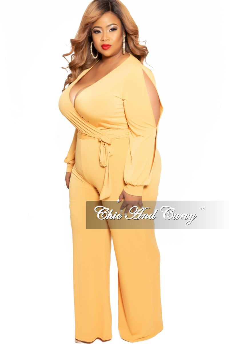 Final Sale Plus Size Faux Wrap Jumpsuit with Slit Sleeves and Attached Tie in Mustard