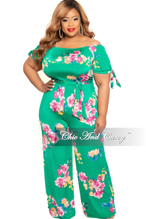 ea5f127315 New Plus Size Off the Shoulder Jumpsuit with Attached Tie in Green Floral  Print