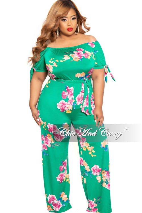 Final Sale Plus Size Off the Shoulder Jumpsuit with Attached Tie in Green Floral Print
