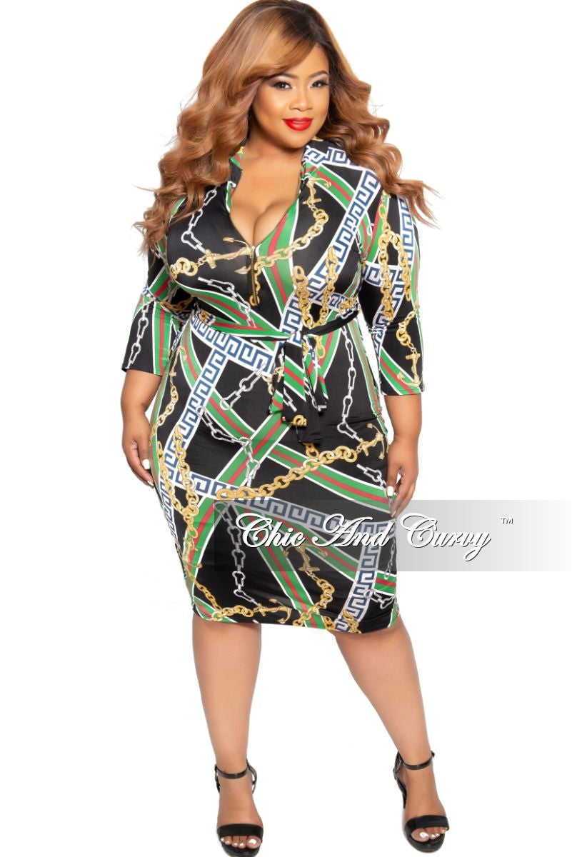 c56dd348dd New Plus Size BodyCon Dress with 3 4 Sleeves and Attached Tie in Black –  Chic And Curvy