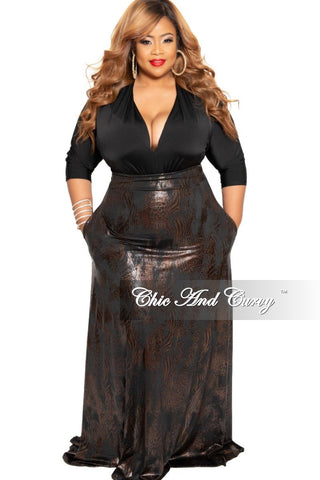 New Plus Size Long Maxi Skirt in Black Brown Gold Animal Print