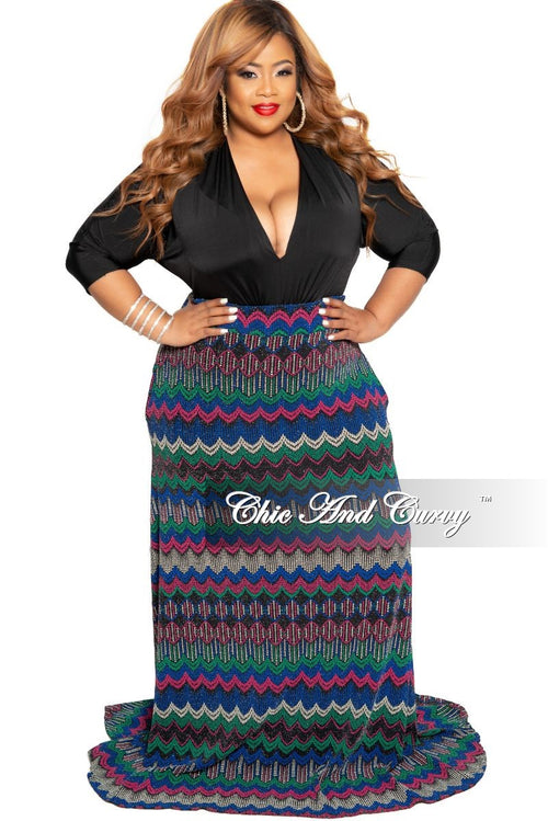 New Plus Size Shimmer Long Maxi Skirt in Royal Blue Pink Black and Green Zig-Zag Print