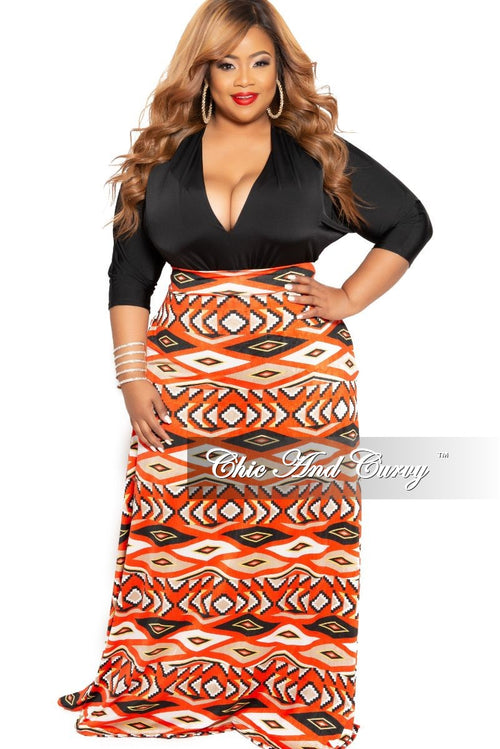 New Plus Size Long Maxi Skirt in Orange Ethnic Print