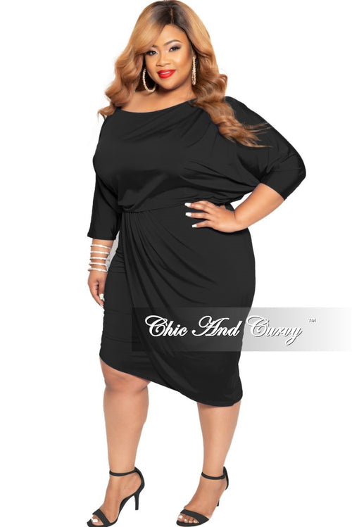 New Plus Size BodyCon Dress with 3/4 Sleeves and Front Overlay in Black