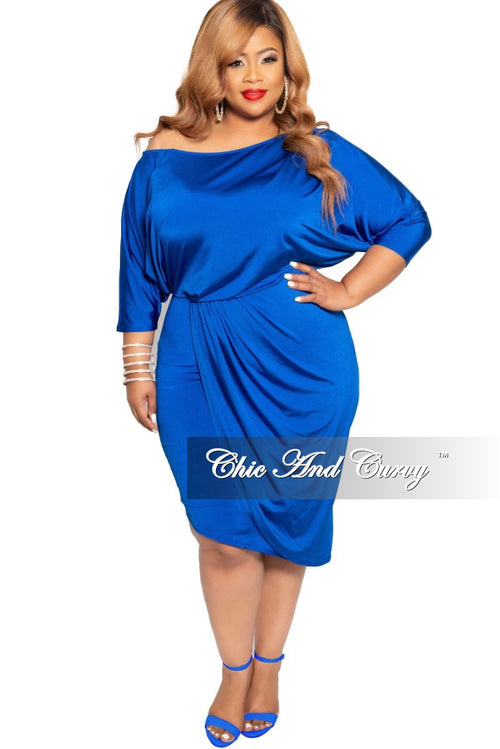29e2597807 New Plus Size BodyCon Dress with 3 4 Sleeves and Front Overlay in Royal Blue
