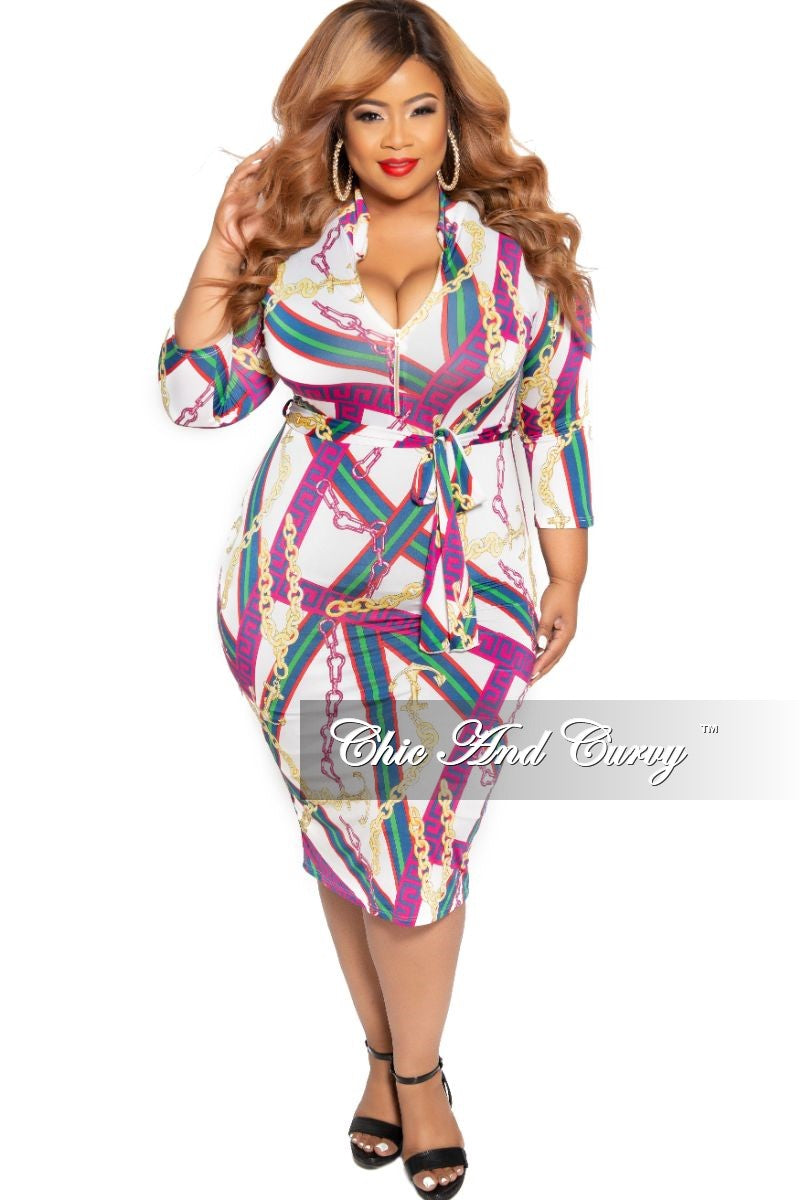 New Plus Size BodyCon Dress with 3/4 Sleeves and Attached Tie in White Fuchsia Red Green Navy Yellow Design
