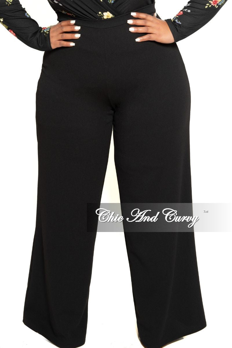 Final Sale Plus Size High-Waist Wide Leg Pants with Back Gold Zipper in Black