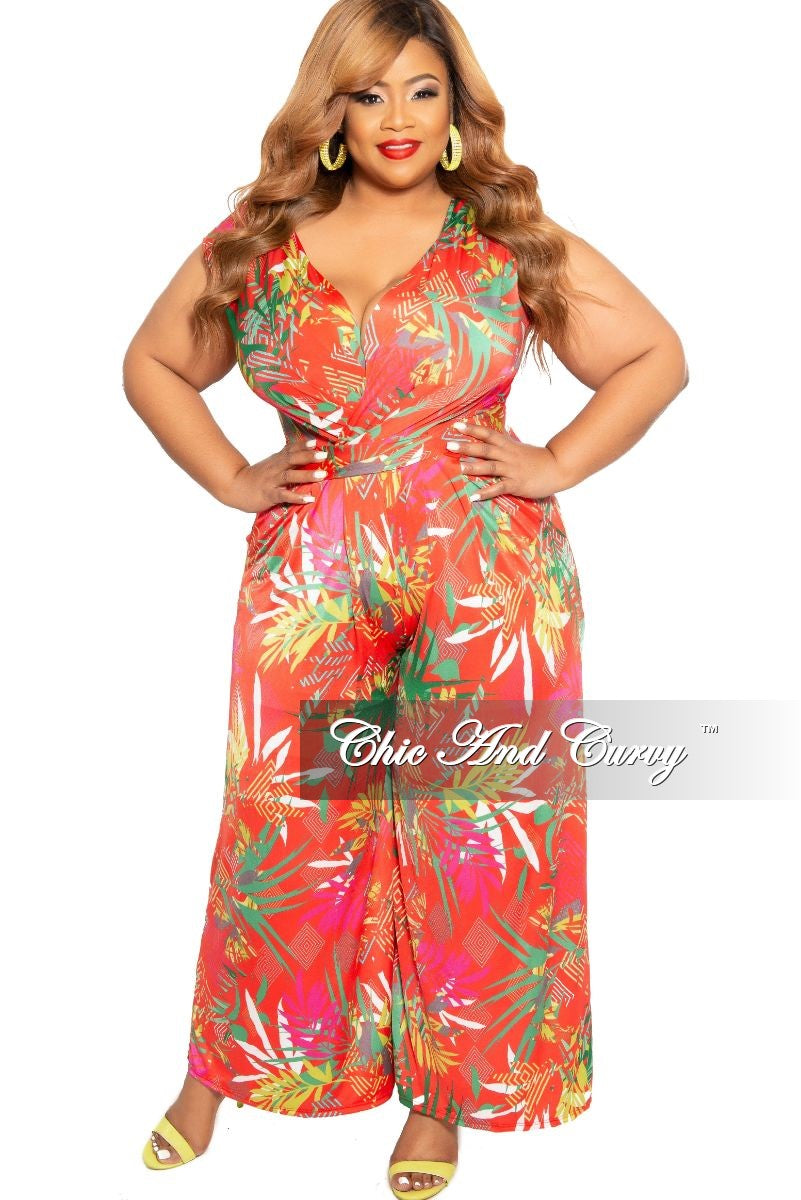 2763176e2fa New Plus Size Faux Wrap Pocket Jumpsuit in Coral Tropical Print – Chic And  Curvy