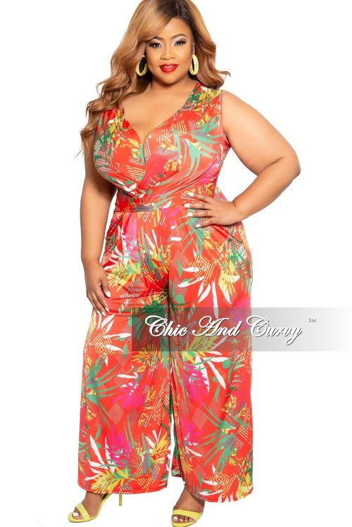 New Plus Size Faux Wrap Pocket Jumpsuit in Coral Tropical Print