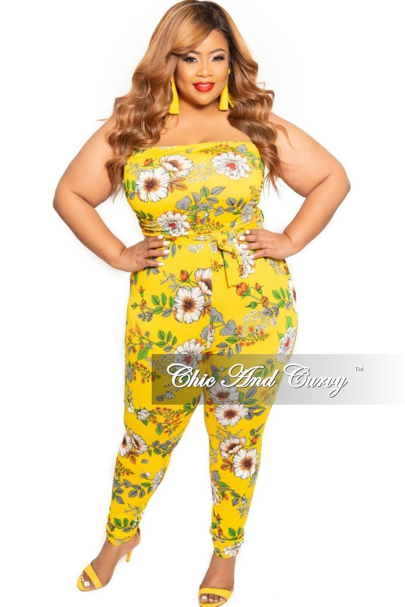 New Plus Size Strapless Pocket Jumpsuit with Tie in Mustard Floral Print
