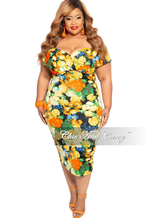 New Plus Size Off the Shoulder BodyCon Dress in Yellow Multi Color Floral Print