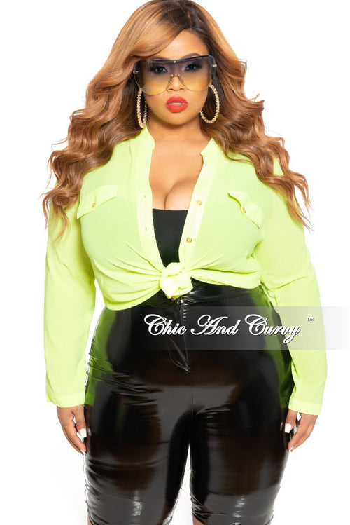 Final Sale Plus Size Top with Button Front in Neon Green