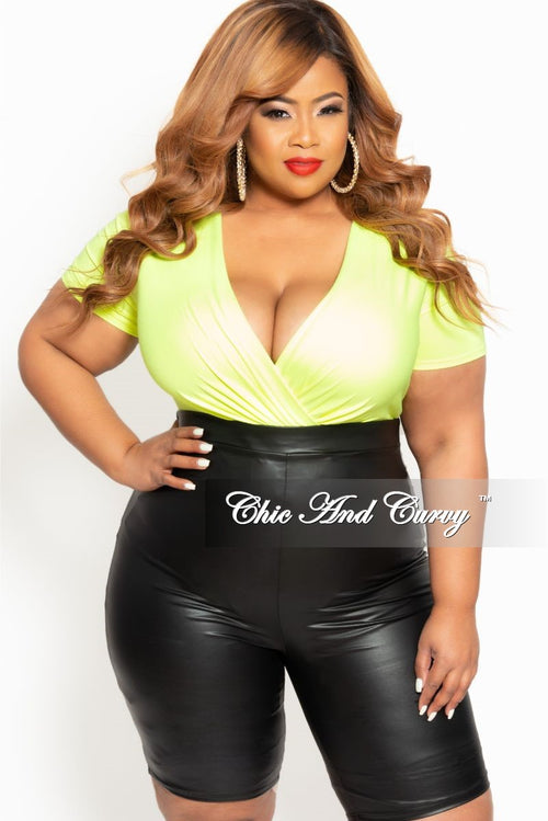 Final Sale Plus Size Short Faux Wrap Bodysuit in Neon Green