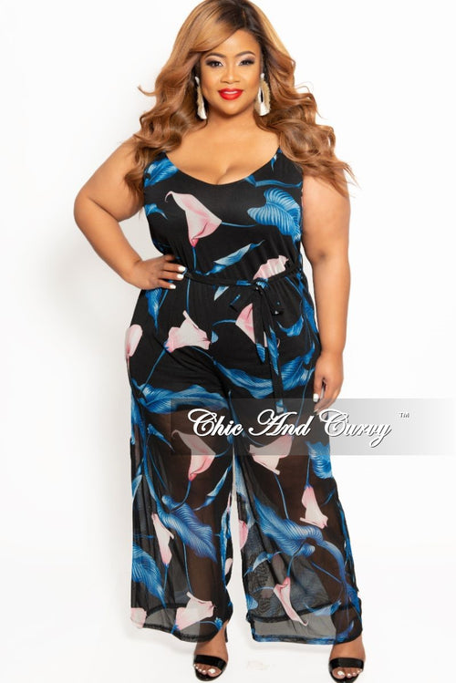 7c7599beac1 New Plus Size Mesh Spaghetti Strap Jumpsuit with Tie in Black Pink and  Royal Blue Print
