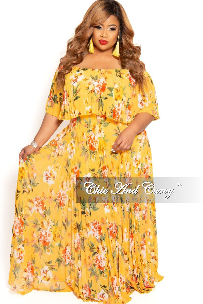 Final Sale Plus Size Chiffon Off the Shoulder Pleated Maxi Dress in ...