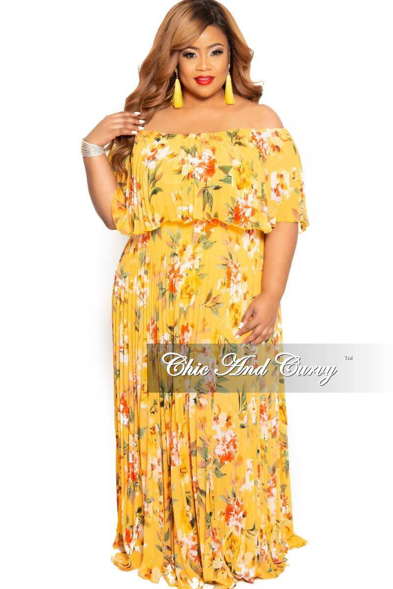 Final Sale Plus Size Chiffon Off the Shoulder Pleated Maxi Dress in Yellow Floral Print