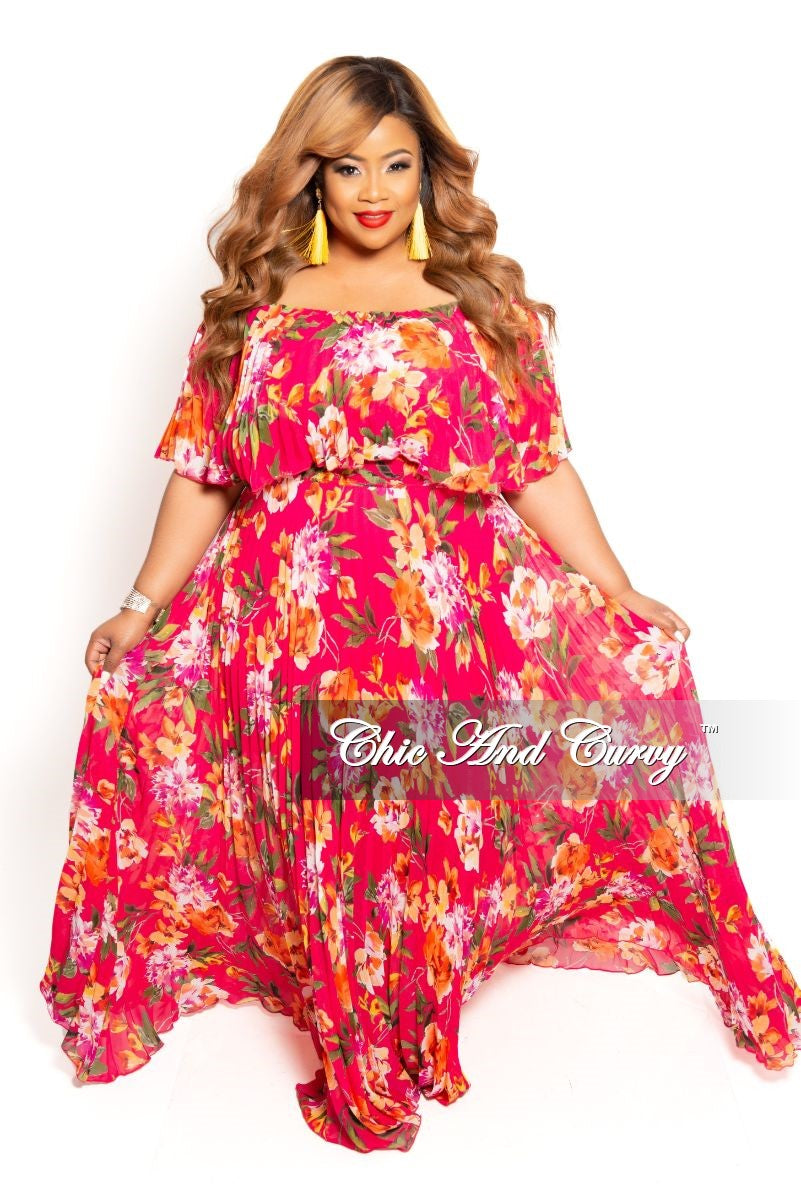 Final Sale Plus Size Strapless Chiffon Pleated Long Dress in Hot Pink Floral Print