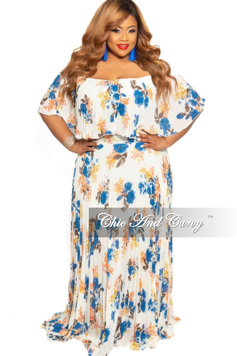 Final Sale Plus Size Off the Shoulder Chiffon Pleated Maxi Dress in Ivory and Blue Floral Print