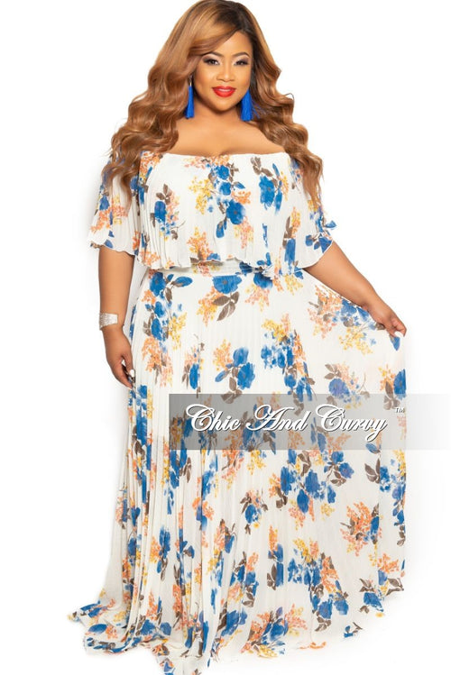 cb7abbafd53 Final Sale Plus Size Off the Shoulder Chiffon Pleated Maxi Dress in Ivory  and Blue Floral