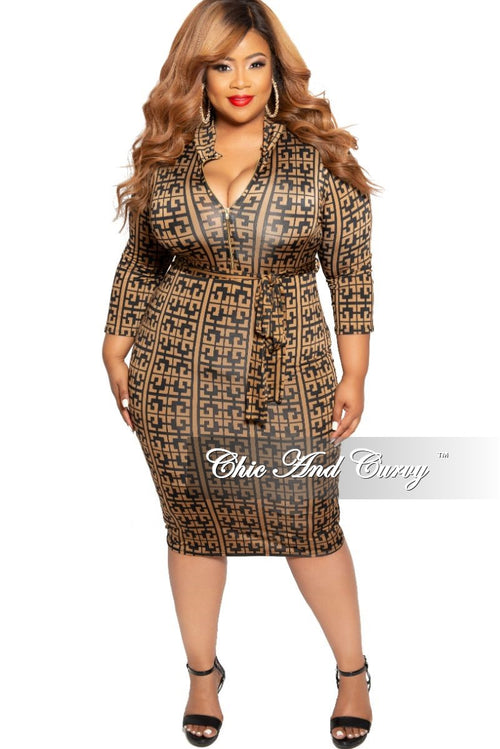 New Plus Size Zip-Up BodyCon Dress with Attached Tie in Black and Brown Maze Print