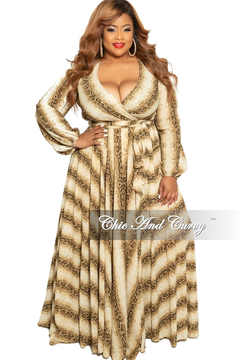 Final Sale Plus Size Faux Wrap Chiffon Maxi in Snake Skin Print