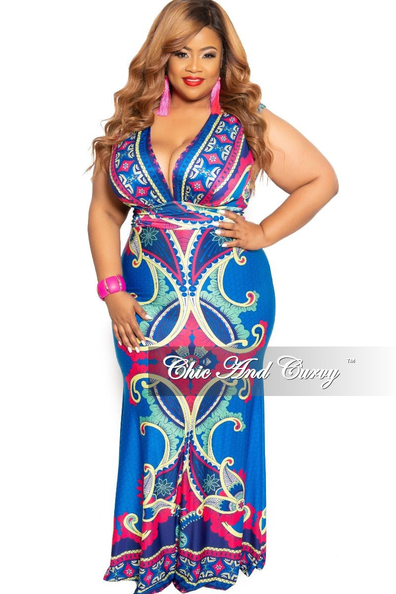 Final Sale Plus Size Sleeveless Deep-V Neck Maxi Dress in Royal Blue Multi Color Design Print