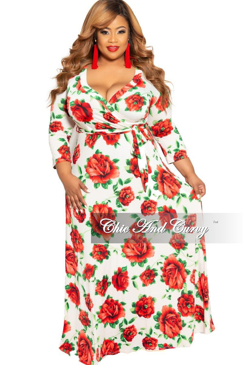 Final Sale Plus Size Deep V Faux Wrap Dress with 3/4 Sleeves in Ivory and Red Floral Print