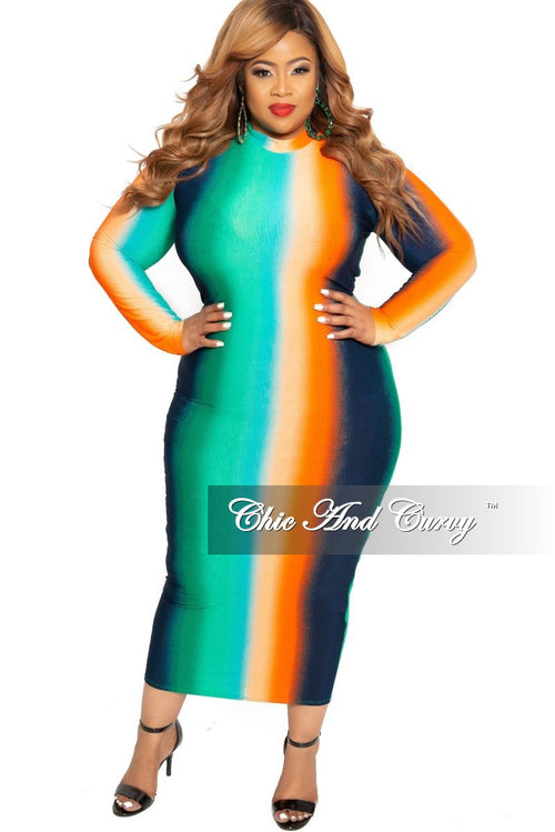 Final Sale Plus Size Reversible Long Sleeve BodyCon Dress in Green Orange Navy and Teal Tie Dye Print