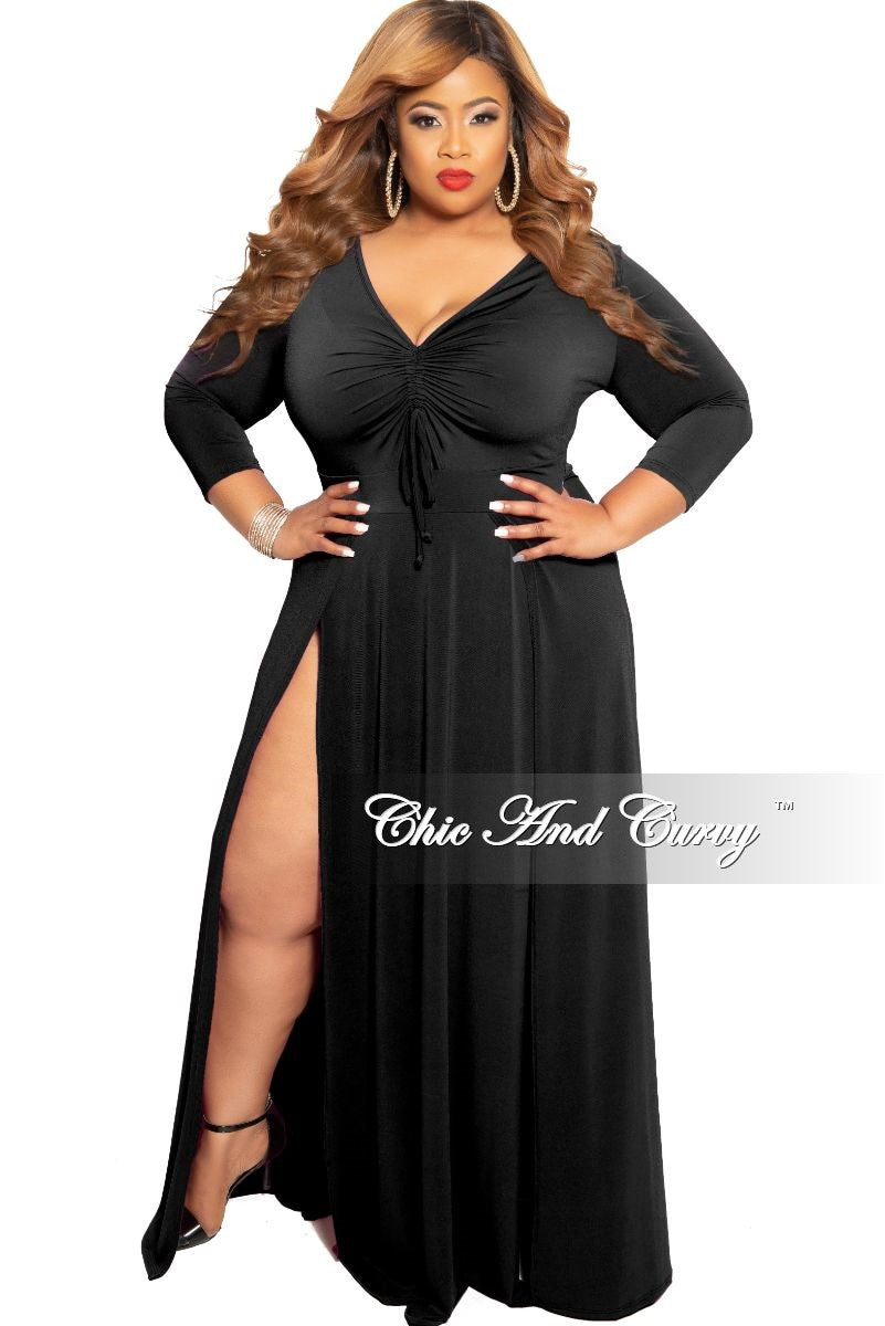 0b4a6ce64a3 New Plus Size Ruched Maxi Dress with Double Slits in Black – Chic And Curvy