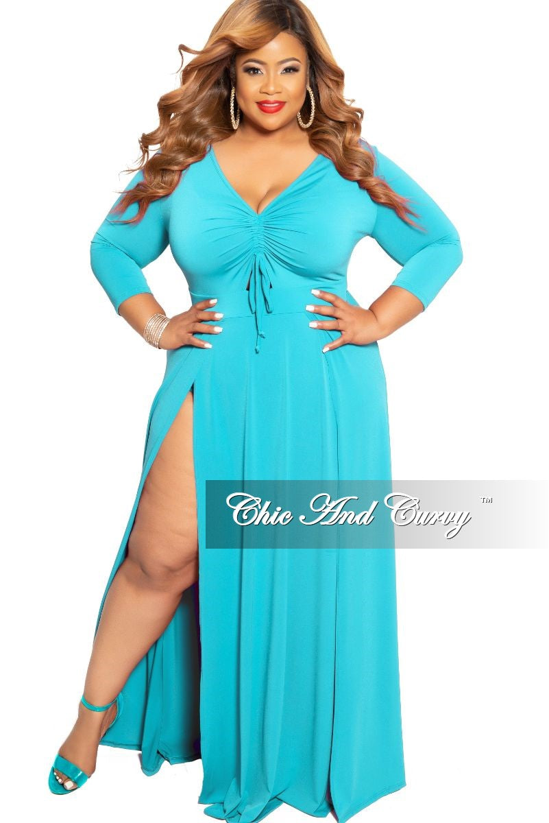e15c846866c New Plus Size Ruched Maxi Dress with Double Slits in Teal – Chic And ...